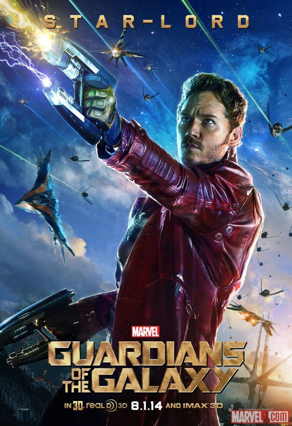 """Marvel's """"Guardians of the Galaxy"""" Star-Lord character poster, played by Chris Pratt. Visit http://Facebook.com/GuardiansoftheGalaxy for all the news and info!"""
