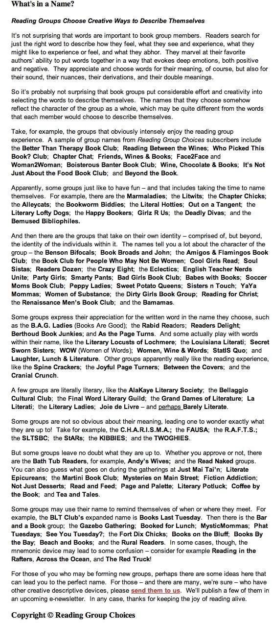 Book Group List 104