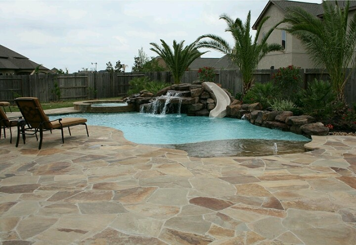 Walk in pool w waterfall and slide home sweet home for Walk in swimming pool designs