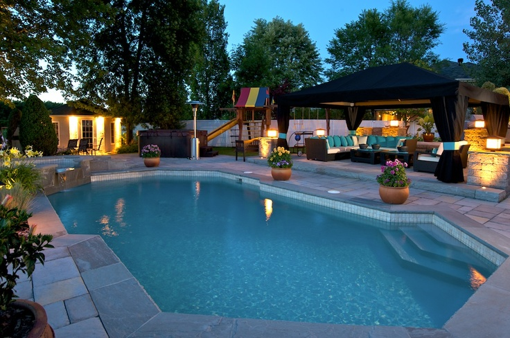 Backyard Pool At Night : The pool at night Great backyard layout