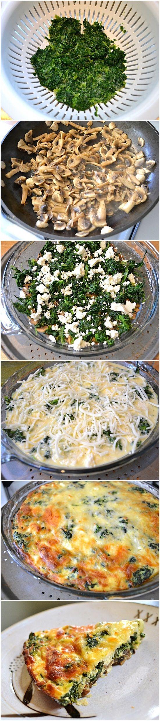 Spinach, Mushroom & Feta Crustless Quiche Replace mozzarella with ...