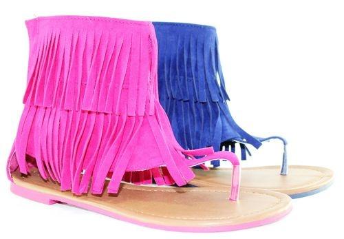 ... Flat Comfortable Fashion Cute T Strap Fringe Design Faux Suede  eBay