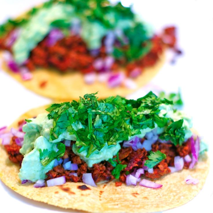 Soyrizo tacos with avocado sour cream. | Cooking | Pinterest