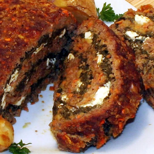 Meatloaf Roll w/ Spinach & Feta | food | Pinterest