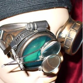 Steampunk Victorian Goggles Glasses with gold green magnifying lens