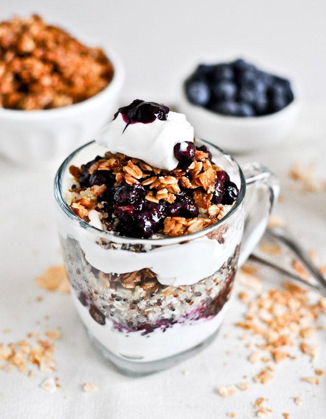 roasted blueberry coconut quinoa parfaits with coconut granola