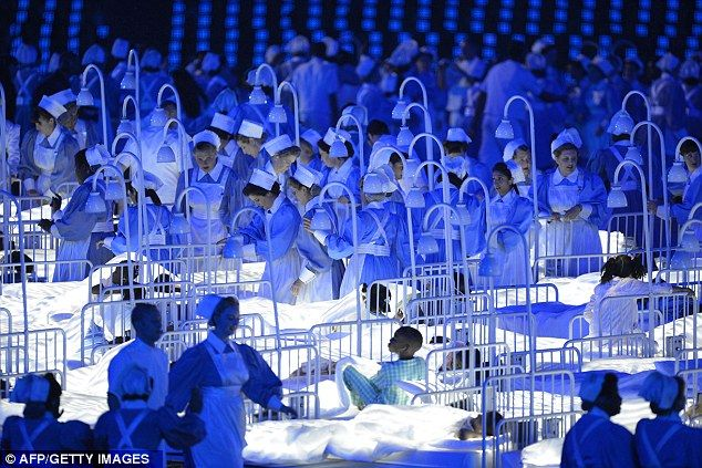 Britain's universal health care is honored at the opening of the London 2012 Olympics.