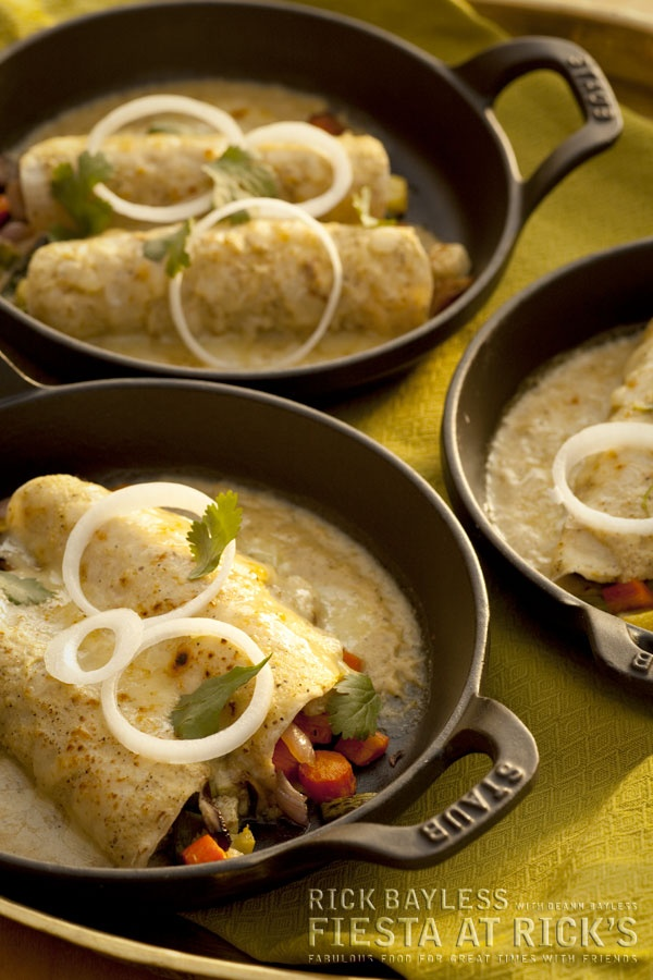 ... Vegetable Enchiladas with Creamy Tomatillo Sauce and Melted Cheese