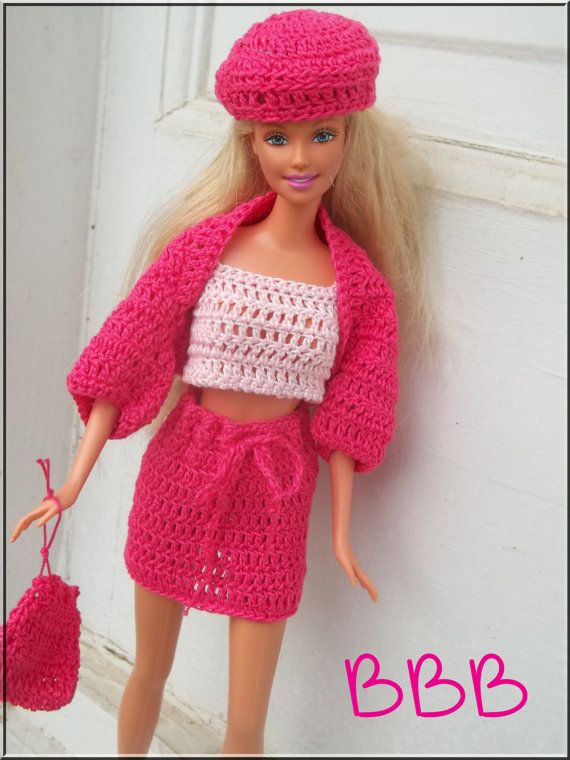 Crochet Barbie Clothes 5 Piece Outfit Pink Crop Tank Hot Pink Shrug ...