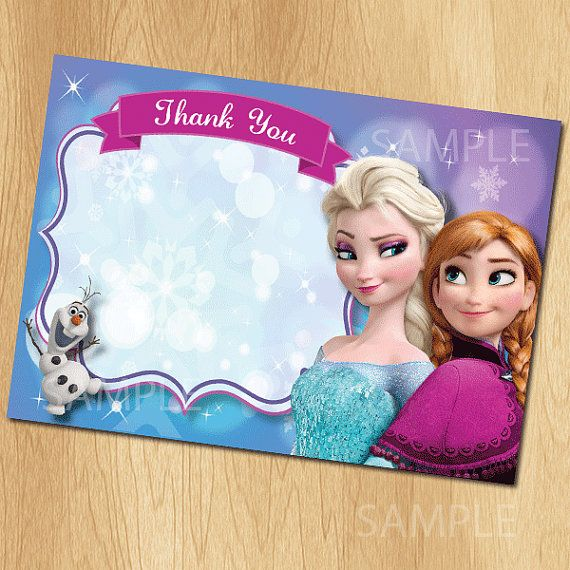 Frozen thank you card frozen thank you note matches birthday party