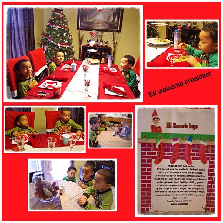 Elf welcome breakfast | Elf on the shelf Ideas | Pinterest