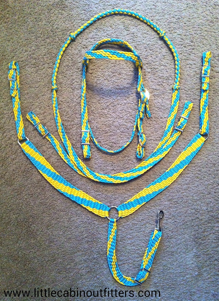 Tack set turquoise yellow paracord pinterest for Paracord horse bridle
