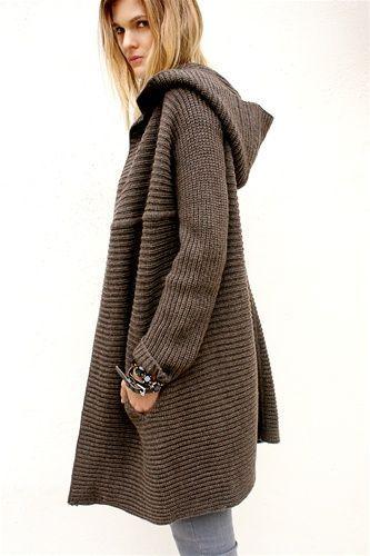Knitting Patterns For Sweater Coats : Hooded sweater coat Looks I Like Pinterest