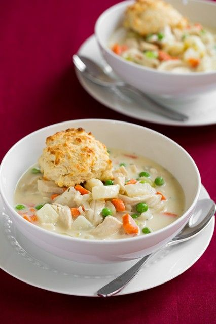 Creamy Chicken Pot Pie Soup with Parmesan Drop Biscuits | Recipe