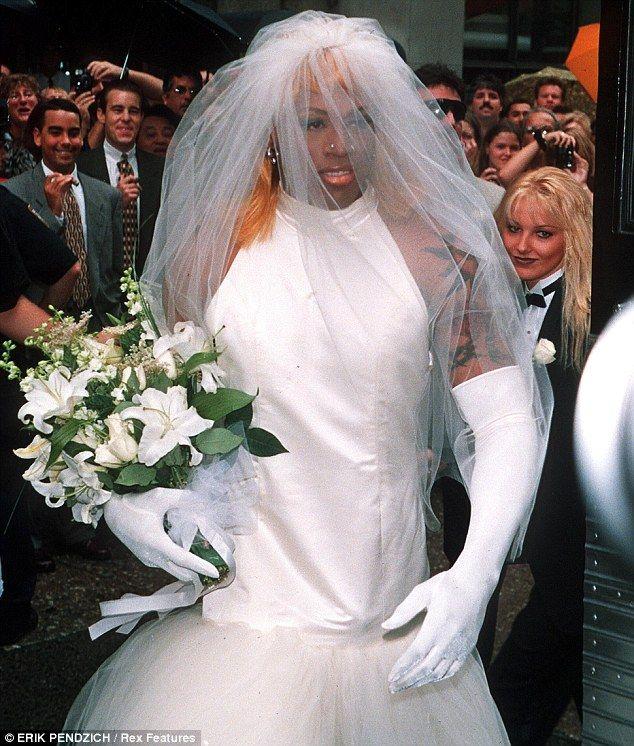 dennis rodman wedding dress the bride wore white rodman dressed in
