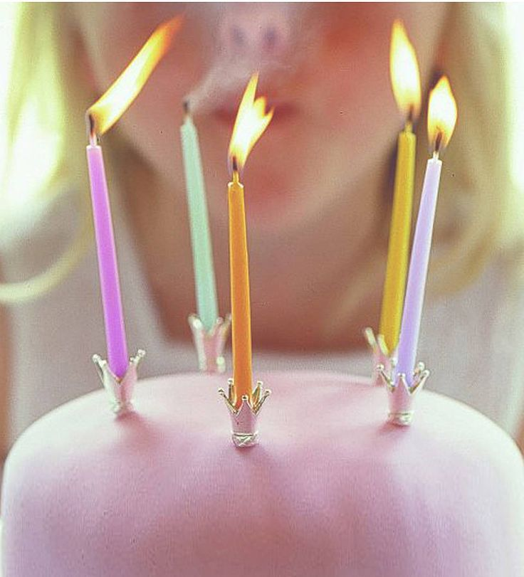Happy Birthday Princess Cake With Candles ~ Crown party cake candle holders