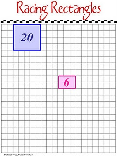 Math game: Roll 2 dice. Students outline & fill in a rectangle with the dimensions that they rolled. Ex: Roll a 4 and 3, fill in a 4x3 on the grid and write the total number of squares inside the rectangle. Lose a turn if rectangle can't fit on the board. Could adjust rules to focus on getting the greatest perimeter...!