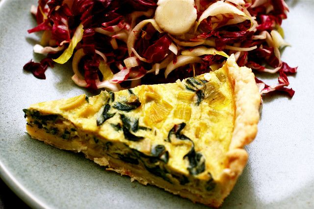 "swiss chart leek tart. Could add ""Vegetarian Butcher"" bacon (or tem..."
