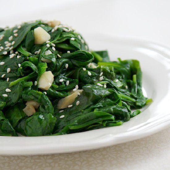 Garlic Sesame Spinach | Gluten-Free Recipes | Pinterest