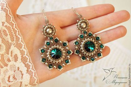 Emerald Crystal Rivoli Earrings with Bicone beads and pearls. More