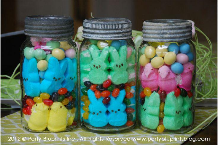 Peeps in vintage mason jars centerpiece
