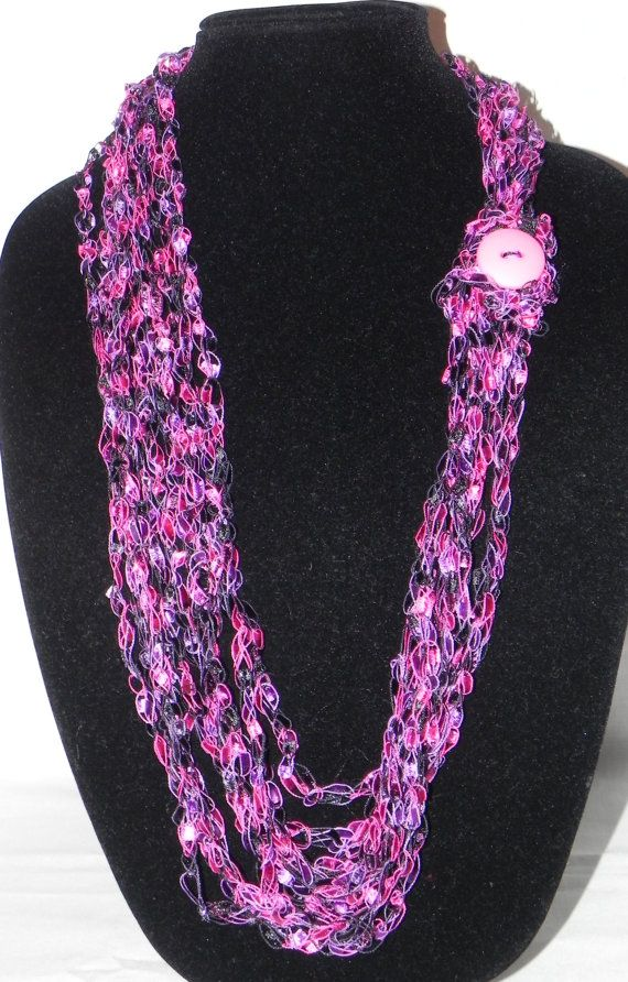 Pink Varigated Chain Crochet Ladder Ribbon Yarn Necklace ...
