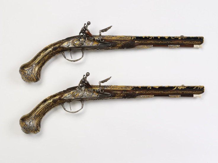 "1750-1760 French Pistols at the Victoria and Albert Museum, London - From the curators' comments: ""These pistols were probably made for Louis XV, King of France (1715-74)....Such pistols were made for Louis XV's own use or for presentation by him to a foreign royalty. The pistols are of exceptional quality. Their impact is entirely visual. They were designed to work but have never been fired and were probably never intended to be."""