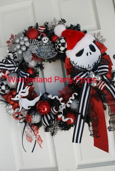 Nightmare before Christmas theme wreath | Christmas | Pinterest