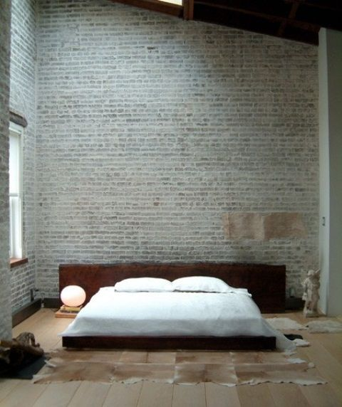 Bedroom with brick walls places spaces pinterest Brick wall bedroom design