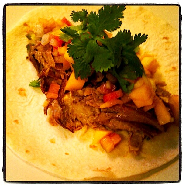 Pulled Pork Tacos with Avocado and a Rhubarb-Mango Salsa.
