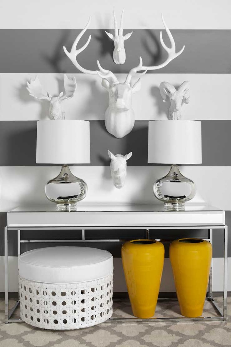 Fauxidermy is a Z Gallerie favorite. Surround these modern accents with shades of lemon and grey for a chic entryway or focal wall.
