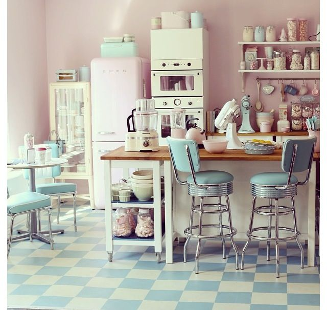 is what i want my kitchen to look like Such cute 50's style kitchen