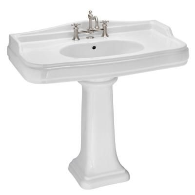 St. Thomas Creations Old Antea 36 Petite Pedestal Sink Basin in White ...
