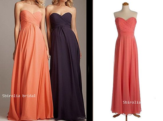 Pink orange purple chiffon prom dress evening dress for Pink and orange wedding dresses