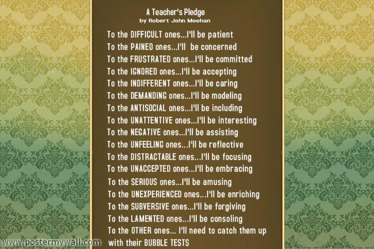 A Teacher's Pledge by Robert John Meehan