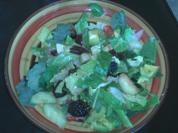 Paleo salad...romaine, kale, roasted beets, avacado, red peppers ...