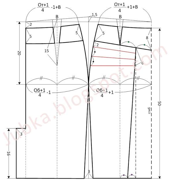 выкройка юбки со вставками для девочки