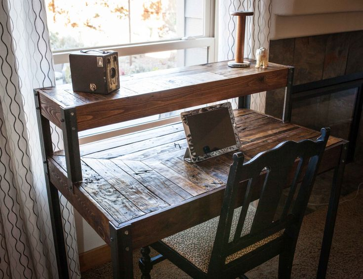 Repurposed Pallet Wood Desk, Tiered with Metal Legs by kensimms on