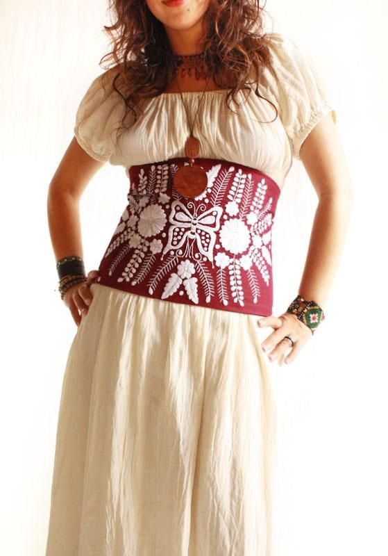 Mexican embroidered corset fashion pinterest