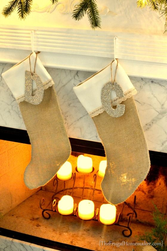 DIY Burlap + Lace Stockings - The Frugal Homemaker | The Frugal Homemaker