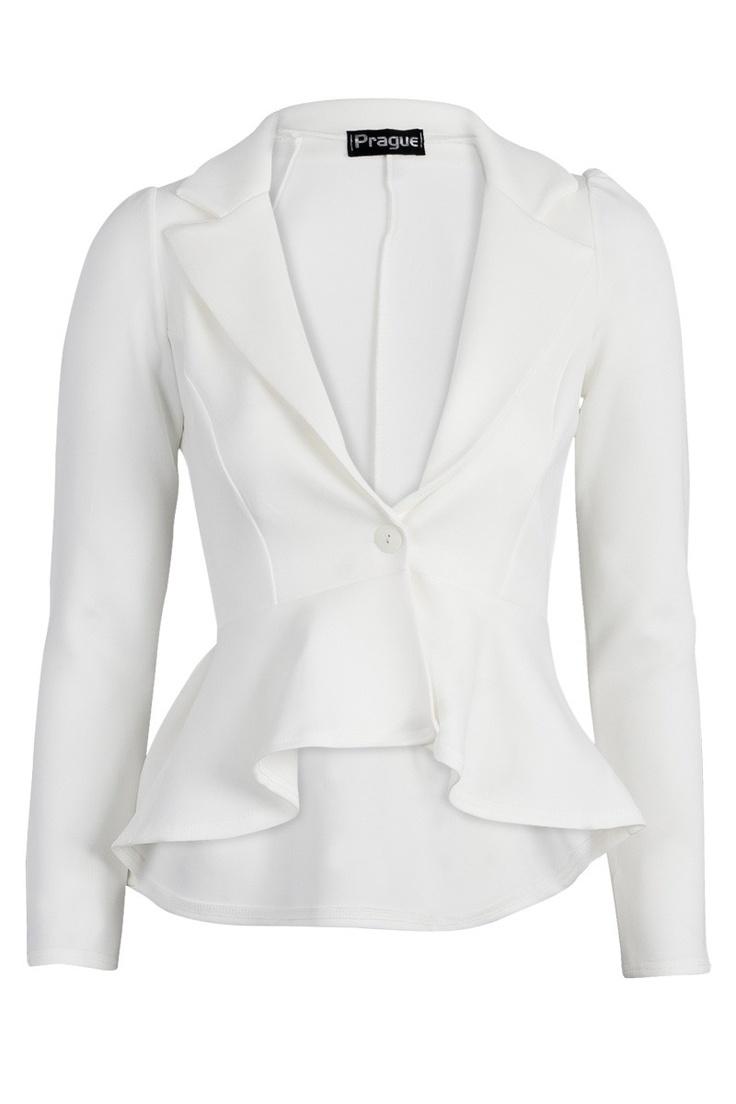 Ciara Off White Peplum Blazer   My Style   Pinterest