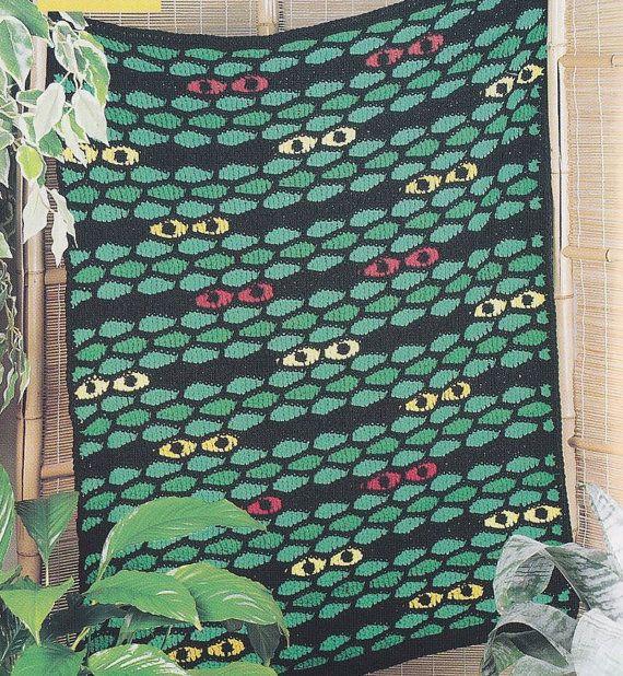 Crochet Jungle Afghan Pattern : Jungle Eyes Afghan Crochet Pattern - Fun Childrens Blanket