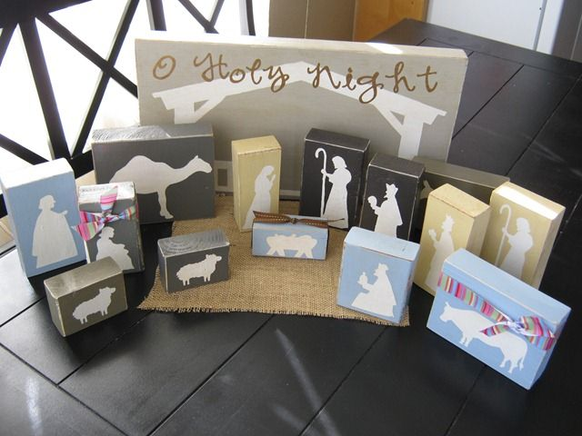I love this block nativity set - totally kid-friendly and she made it for under $5!