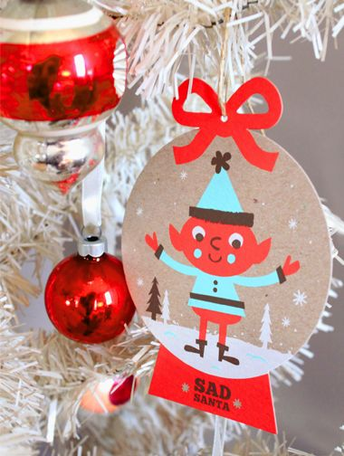 NEW Sad Santa silkscreen Holiday ornaments! by Tad Carpenter