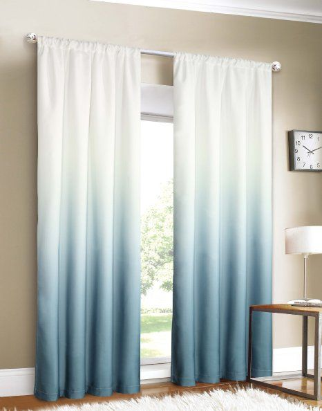 blue green sheer curtains