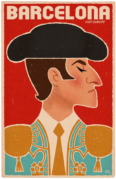 Barcelona travel poster - haha a smug matador!