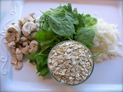 Mushroom Oat Risotto with Spinach | Clean eating: gluten, dairy, soy ...