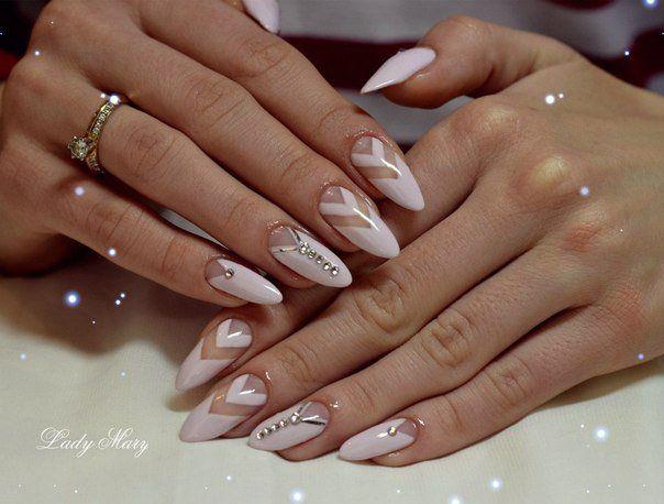 Гель-лак дизайн на длинных ногтях