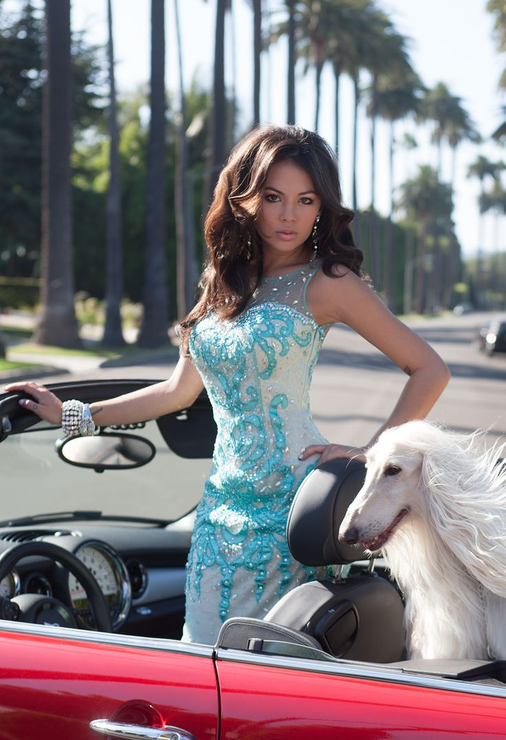 Mesh Illusion Satin Prom Dress with Beaded Appliques by Camille La Vie & Group USA modeled by Janel Parrish