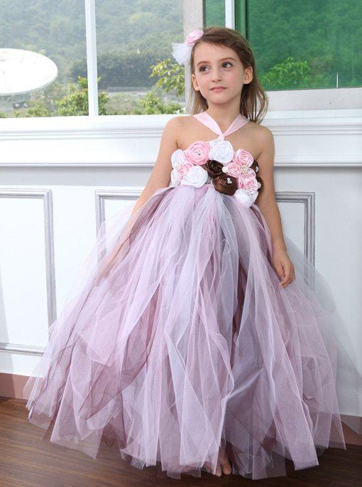 ... Brown pink white girl Tutu Dress birthday party wedding flower girl